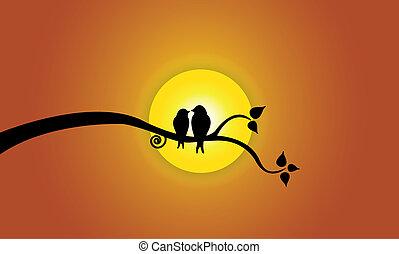 feliz, amor jovem, pássaros, ligado, filial árvore, durante, pôr do sol, &, laranja, sky., dois, jovem, pássaro, silhuetas, sentando, ligado, um, árvore frondosa, ramo, contra, bonito, luminoso, sol amarelo, ?, conceito, ilustração, artwork