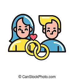 feliz, anéis, coração, ícone, dia dos namorados, par