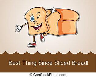 feliz, andar, fatia, pão