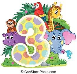 feliz, animais, número, ao redor, três