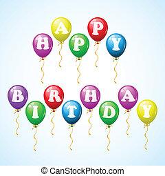 feliz aniversário, balões, celebração