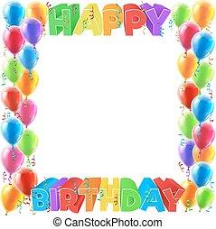 feliz aniversário, balões, convidar, borda, quadro