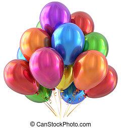 feliz aniversário, balões, decoração partido, coloridos, multicolored