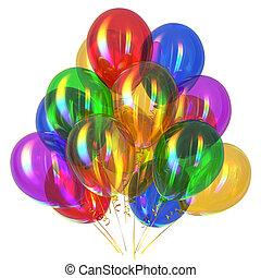 feliz aniversário, balões, decoração partido, multicolored, lustroso