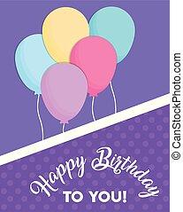feliz aniversário, balões, desenho