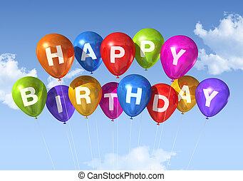 feliz aniversário, balões, em, a, céu