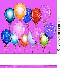 feliz aniversário, balloon, fundo, com, ouro, streamers., vetorial, illustration.