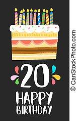 feliz aniversário, bolo, cartão, 20, vinte, ano, partido