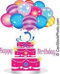 feliz aniversário, bolo, com, balões