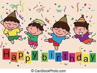 feliz aniversário, caricatura, celebração