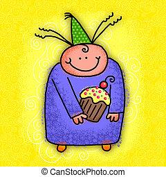 feliz aniversário, caricatura, personagem