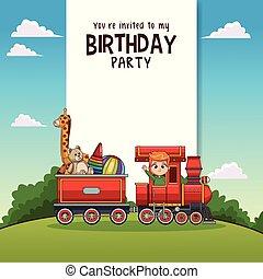 feliz aniversário, cartão, com, crianças, ligado, trem