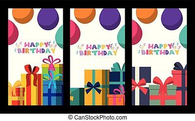 feliz aniversário, cartão, crianças