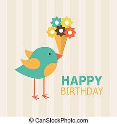 feliz aniversário, cartão, design., vetorial, ilustração