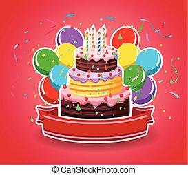 feliz aniversário, com, balões