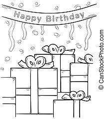 feliz aniversário, e, presentes