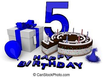 feliz aniversário, em, azul