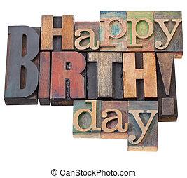 feliz aniversário, em, letterpress, tipo