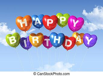 feliz aniversário, forma coração, balões, em, a, céu