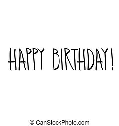 feliz aniversário, mão, lettering