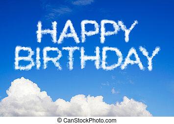 feliz aniversário, mensagem, em, a, céu