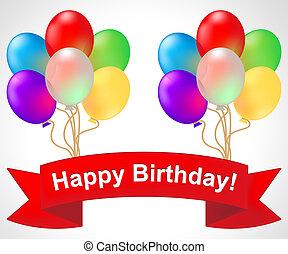 feliz aniversário, mostra, saudação, celebração, 3d, ilustração