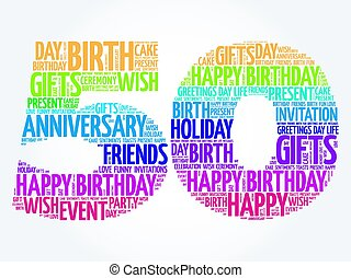 feliz aniversário, palavra, nuvem, 50th
