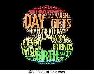 feliz aniversário, palavra, nuvem, 8º