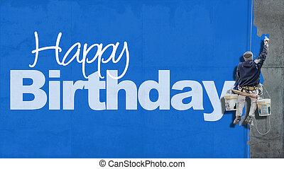 feliz aniversário, parede, azul