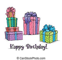 feliz aniversário, presentes