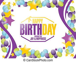 feliz aniversário, selo, balões, borda