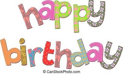 feliz aniversário, texto, corte arte