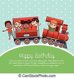 feliz aniversário, trem, caricatura