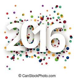 feliz, ano, confetti., novo, 2016, celebração