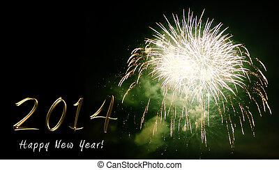 feliz ano novo, 2014, -, fogo artifício, por, noturna