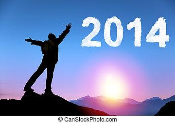 feliz ano novo, 2014.happy, homem jovem, ficar, ligado, a, topo, de, montanha