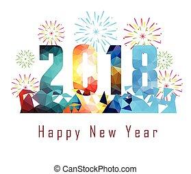 feliz ano novo, 2018, com, fogo artifício, fundo