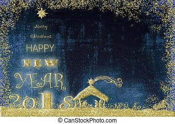 feliz ano novo, 2018, natal, card.