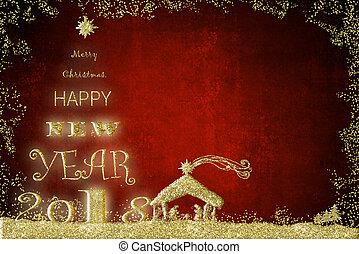 feliz ano novo, 2018, saudação, card.