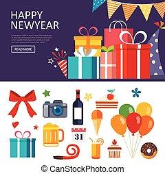 feliz ano novo, caixa presente, bandeira, apartamento, desenho