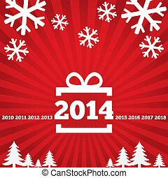 feliz ano novo, cartão cumprimento, com, apartamento, icons.