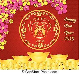 feliz, ano novo chinês, 2018, cartão, -, ano, de, dog.