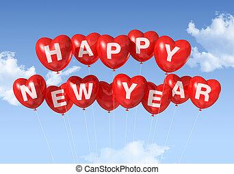 feliz ano novo, coração amoldou, balões