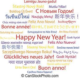 feliz ano novo, em, diferente, languages.