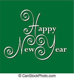 feliz ano novo, mão, lettering