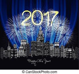 feliz ano novo, néon, saudação