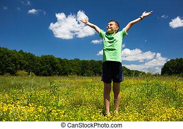 feliz, ao ar livre, criança