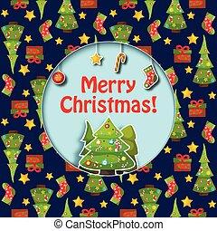 feliz, apartamento, cartão natal