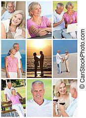 feliz, aposentado, par velho, montagem, romanticos, férias