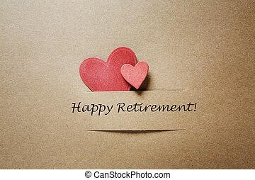 feliz, aposentadoria, mensagem, com, corações